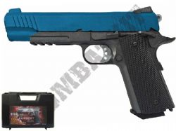 G194 1911 BB Gun Kimber Replica CO2 Blowback Airsoft Pistol 2 Tone Black & Blue Metal Slide